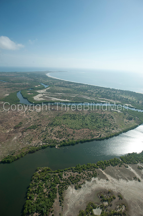 Aerial view of lagoon and East Coast near Valachchenai. Looking over Vandeloos Bay.