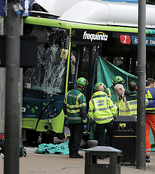 © Licence to London News Pictures. 07/07/2016. Emergency services at the scene where a bus crashed in to a branch of Halifax bank in the centre of Darlington, County Durham. There are reports of serious injury and two people trapped under the vehicle.  Photo Credit: Stuart Boulton/LNP