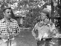 July 1976, Plains, Georgia, USA --- Democratic vice presidential candidate Walter Mondale (left) and his running mate, presidential candidate Jimmy Carter, talk to reporters during their campaign for the 1976 presidential election. --- Image by © Owen Franken/Corbis