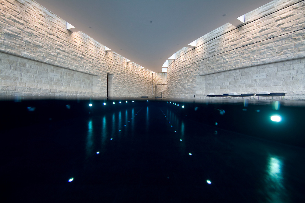 The 4,000 squre-meter spa, designed by Sylvia Sepielli, here is the inside whirlpools.