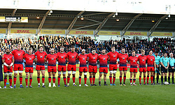 Worcester Warriors take part in a minutes silence for Remembrance Day - Mandatory by-line: Robbie Stephenson/JMP - 12/11/2017 - RUGBY - Twickenham Stoop - London, England - Harlequins v Worcester Warriors - Anglo-Welsh Cup