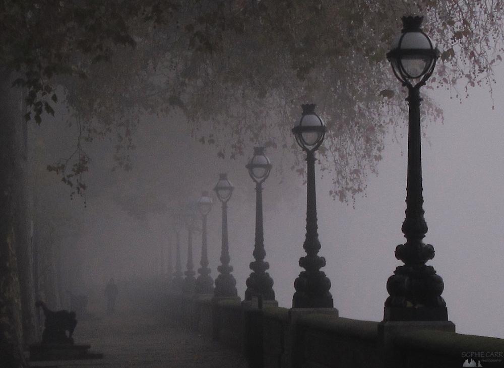 Chelsea Embankment in the Fog in Autumn