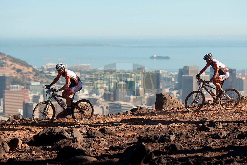 CAPE TOWN, SOUTH AFRICA - 21 March 2009, the view of Robben Island and greenpoint stadium during the Absa Cape Epic Prologue held in Table Mountain National Park as part of the Absa Cape Epic Mountain Bike stage race 2009 Western Cape, South Africa..Photo by Sven Martin/SPORTZPICS