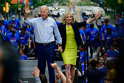 Joe and Jill Biden share the stage as former Vice President kicks off his 2020 campaign in the US Presidential Election, at an outdoor rally on the Benjamin Franklin Parkway in Philadelphia, PA on May 18, 2019.