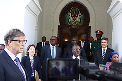 August 10, 2017 - Dar Es Salaam, Dar es Salaam, Tanzania - Bill Gates, American business magnate and philanthropist, addresses reporters after meeting with president John Magufuli (center - foreground) at the Presidental State House. Gates applaud president Magufuli's commitment to poverty reduction in Tanzania and pledges his foundation's continued support.  Tanzania is one of 45 African countries in which the Bill and Melinda Gates Foundation plans to invest  billion by 2021. (Credit Image: © Ric Francis via ZUMA Wire)