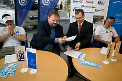 Peter Kauzer, Bojan Zmavc, Tomaz Mikulan and Andrej Jelenc at press conference of Kayak and Canoe Federation of Slovenia when Avtotehna VIS signed a sponsorship contract, on April 7, 2010, in Avtotehna VIS, Ljubljana, Slovenia.  (Photo by Vid Ponikvar / Sportida)