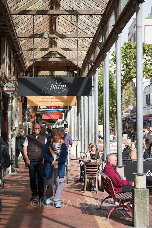 Street scene on Cuba Street in downtown Wellington on the North Island of New Zealand.