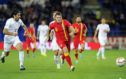 Sam Vokes of Wales (Burnley) battles for the ball with Milan Bisevac of Serbia (Lyon)  - Photo mandatory by-line: Joe Meredith/JMP - Tel: Mobile: 07966 386802 10/09/2013 - SPORT - FOOTBALL - Cardiff City Stadium - Cardiff -  Wales V Serbia- World Cup Qualifier