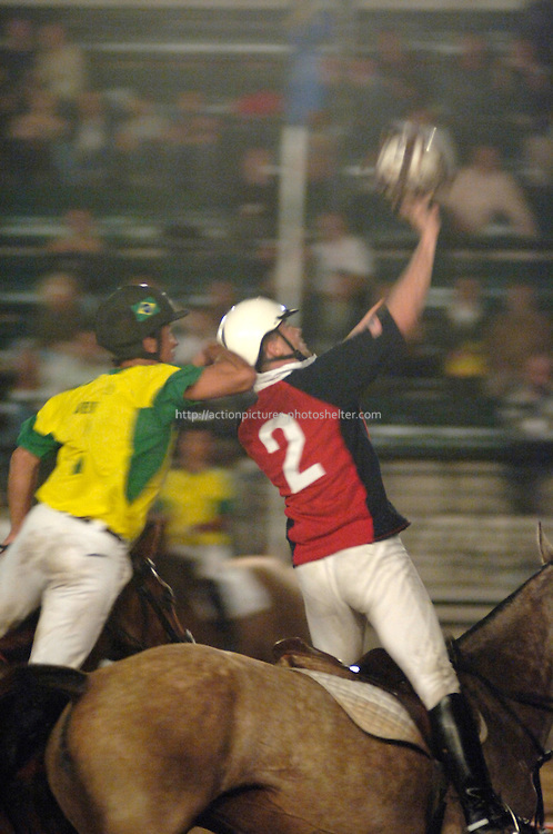 horseball players fighting for ball.World horseball championship, La Rural Buenos Aires, Argentina 2006, copa Cardon