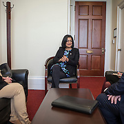 Representative Pramila Jayapal (D-WA, 7) meets with James Pishue, President and CEO, and Gloria Stewart of the Washington Bankers Association, on Tuesday, January 31, 2017.  John Boal photo/for The Stranger