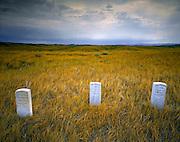 AA02270-02...MONTANA - Grave markers at the Reno-Benteen Battlefield in Little Bighorn Battlefield National Monument.