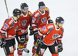 Michael Schiechl of Austria and other Players of Austria celebrate during Friendly Ice-hockey match between National teams of Slovenia and Austria on April 19, 2013 in Ice Arena Tabor, Maribor, Slovenia. (Photo By Vid Ponikvar / Sportida)