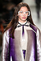 Karime Bribiesca walks the runway wearing Custo Barcelona Fall 2016 20th Anniversary Collection during New York Fashion Week on February 14, 2016