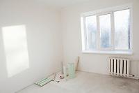 Sunlit window in new apartment