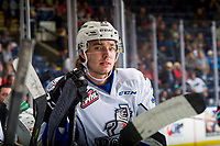 KELOWNA, CANADA - OCTOBER 5: Phillip Schultz #27 of the Victoria Royals sits on the boards against the Kelowna Rockets  on October 5, 2018 at Prospera Place in Kelowna, British Columbia, Canada.  (Photo by Marissa Baecker/Shoot the Breeze)  *** Local Caption ***