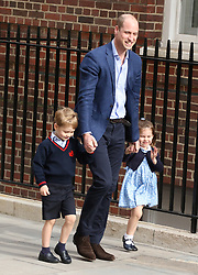 Prince William, Duke of Cambridge, arrives back at the Lindo Wing of St Mary's Hospital, with Prince George and Princess Charlotte to see their new baby brother.<br /> Lindo Wing, St. Mary's Hospital, London, on April 23, 2018.<br />