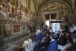 June 1, 2017 - Vatican City, Vatican - Visitors attend the inauguration of a new type of lighting from OSRAM in the Raphael's Rooms at the Vatican Museums on June 01, 2017. The Raphael's Rooms are famous for their frescoes, painted by Raphael. With the new lighting sistem illuminance levels will increase, energy consumption will be cut and the art will be carefully conserved. (Credit Image: © Giuseppe Ciccia/Pacific Press via ZUMA Wire)