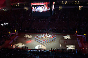 November 8, 2013: The drumline takes the court for the pre-game festivities before the game against the Florida Gulf Coast Eagles at the Pinnacle Bank Areana, Lincoln, NE. Nebraska defeated Florida Gulf Coast 79 to 55.