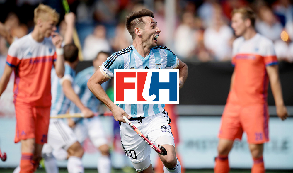 BREDA - Rabobank Hockey Champions Trophy<br /> The Netherlands - Argentina<br /> Photo: Matias Paredes celebrates his winning goal.<br /> COPYRIGHT WORLDSPORTPICS FRANK UIJLENBROEK