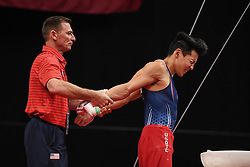 August 18, 2018 - Boston, Massachussetts, U.S - Coach ANDRIY STEPANCHENKO stretches the the shoulders of KANJI OYAMA during the final round of competition held at TD Garden in Boston, Massachusetts. (Credit Image: © Amy Sanderson via ZUMA Wire)