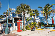 Eclectic boutiques and restaurants along the historic Flagler Avenue shopping district in New Smyrna Beach, Florida.