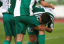 Amir Karic of Olimpija kisses Miran Pavlin's leg after Pavlin scored at football match of 2nd SNL between NK Olimpija Ljubljana and NK Zagorje, on May 03, 2009, in ZAK stadium, Ljubljana, Slovenia. Olimpija won 9:0 and 4 Rounds before the end won the 1st place in 2nd SNL. Next year they will play in First Slovenian League. (Photo by Vid Ponikvar / Sportida)