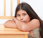 Young girl of 9 sulking Model release available