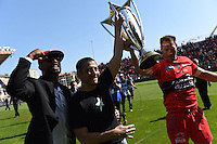 Presentation du Trophee aux Supporters/ Mourad Boudjellal / Delon Armitage / Ali Williams - 09.05.2015 - Toulon / Castres  - 24eme journee de Top 14 <br />