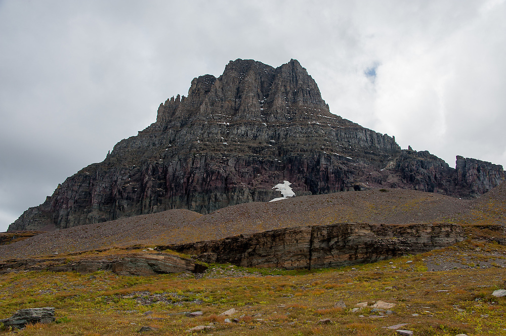 Mount Clements at Logan Pass in Glacier National Park, Montana, Tuesday, October 7, 2014. The terminal moraine, a pile of gravel rocks created by the leading edge of a glacier that likely disappeared in the 1940's is visible in the middle distance going across the image.