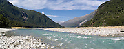 Panoramic view of the Wilkins River, Mount Aspiring National Park, near Makarora, Otago, New Zealand.