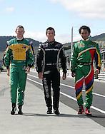 Tri Nations (L-R) A1 drivers, John Martin (AUS), Jonny Reid (NZ) and Adrian Zaugg (SA). A1 GP official practice and qualifying, Taupo, New Zealand, Saturday 19 January 2008. Photo: Renee McKay/PHOTOSPORT/SPORTZPICS