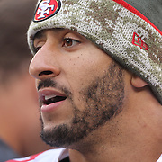 San Francisco 49ers quarterback Colin Kaepernick during the New York Giants V San Francisco 49ers, NFL American Football match at MetLife Stadium, East Rutherford, NJ, USA. 16th November 2014. Photo Tim Clayton