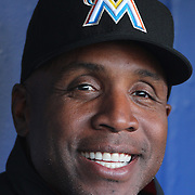 NEW YORK, NEW YORK - APRIL 12: Hitting coach Barry Bonds, Miami Marlins, talks with the media in the dugout before the Miami Marlins Vs New York Mets MLB regular season ball game at Citi Field on April 12, 2016 in New York City. (Photo by Tim Clayton/Corbis via Getty Images)