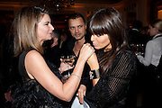 NATALIE MASSENET; GERRY DE VAUX; CLAUDIA WINKLEMAN;, Harper's Bazaar Women Of the Year Awards 2011. Claridges. Brook St. London. 8 November 2011. <br /> <br />  , -DO NOT ARCHIVE-© Copyright Photograph by Dafydd Jones. 248 Clapham Rd. London SW9 0PZ. Tel 0207 820 0771. www.dafjones.com.