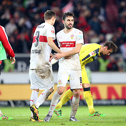 30.12.2015, Mercedes Benz Arena, Stuttgart, GER, 1. FBL, VfB Stuttgart vs Hamburger SV, 19. Runde, im Bild Daniel Schwaab (VfB Stuttgart) Lukas Rupp (VfB Stuttgart) nach dem Sieg // during the German Bundesliga 19th round match between VfB Stuttgart and Hamburger SV at the Mercedes Benz Arena in Stuttgart, Germany on 2015/12/30. EXPA Pictures © 2016, PhotoCredit: EXPA/ Eibner-Pressefoto/ Langer<br /> <br /> *****ATTENTION - OUT of GER*****