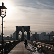 Foot commute on a winter morning, Brooklyn Bridge, New York City
