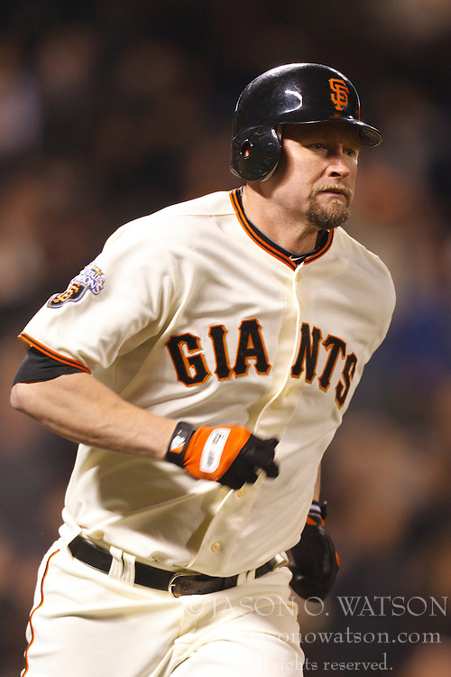 May 11, 2011; San Francisco, CA, USA;  San Francisco Giants first baseman Aubrey Huff (17) rounds the bases after hitting a home run against the Arizona Diamondbacks during the fifth inning at AT&T Park.