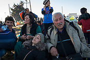 March 5, 2016 - Idomeni, Greece: New refugees from Damascus arrive exhausted in make shift camp at the  Idomeni border crossing in Greece. Ali Beshir R is 72 years and  a former Oil engineer. He walked 3 hours to join Idomeni. 13,000 refugees are stuck here after Macedonia closed the border. New arrivals come in every day, making living conditions more and more difficult, so that the local government asked the emercency state was declared . (Steven Wassenaar/Polaris)