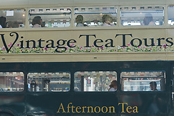 April 28, 2018 - Dublin, Ireland - A view of the Vintage Tea Tour bus, probably the loveliest way to spend an afternoon around Dublin city center..On Saturday, April 28, 2018, in Dublin, Ireland. (Credit Image: © Artur Widak/NurPhoto via ZUMA Press)
