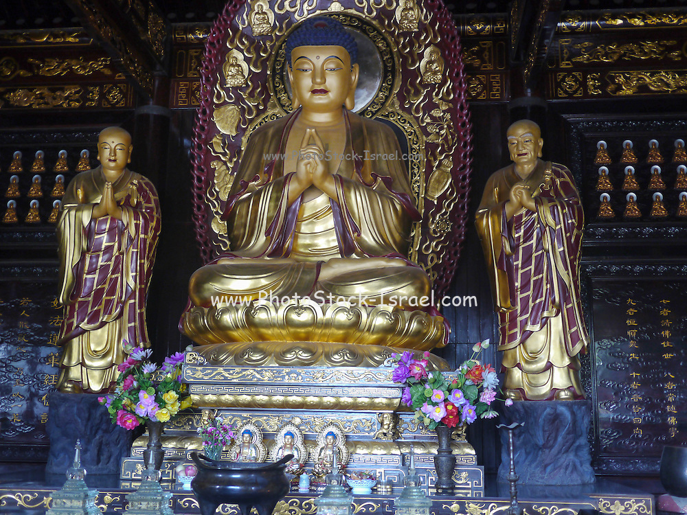 Golden Buddha and Disciples Sculpture in a Shrine, Big Wild Goose Pagoda, Xian, Shaanxi, China