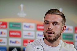 MANCHESTER, ENGLAND - Wednesday, March 16, 2016: Liverpool's captain Jordan Henderson during a press conference at Old Trafford ahead of the UEFA Europa League Round of 16 2nd Leg match against Manchester United. (Pic by David Rawcliffe/Propaganda)