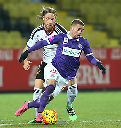 29.01.2016, Generali Arena, Wien, AUT, Testspiel, FK Austria Wien vs FC Basel, im Bild Michael Lang (FC Basel) und Lucas Venuto (FK Austria Wien) // during a preperation Football Match between FK Austria Wien vs FC Basel at the Generali Arena in Vienna, Austria on 2016/01/29. EXPA Pictures © 2016, PhotoCredit: EXPA/ Thomas Haumer