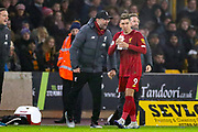 Liverpool Manager Jürgen Klopp shouts to Liverpool forward Roberto Firmino (9) after he scored during the Premier League match between Wolverhampton Wanderers and Liverpool at Molineux, Wolverhampton, England on 23 January 2020.