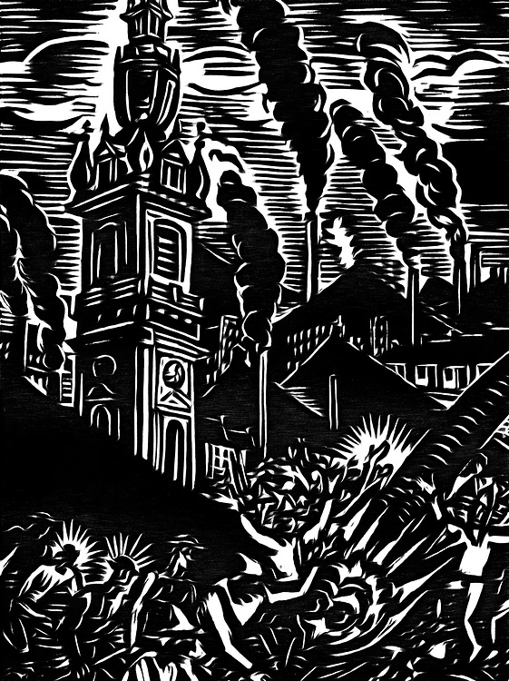 A black / white drawing of an uprising by miners