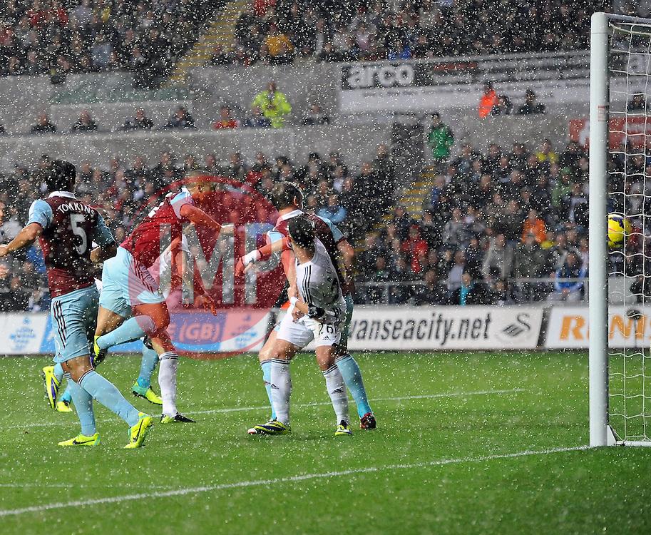 West Ham United's Winston Reid sees his header well saved - Photo mandatory by-line: Joe Meredith/JMP - Tel: Mobile: 07966 386802 27/10/2013 - SPORT - FOOTBALL - Liberty Stadium - Swansea - Swansea City v West Ham United - Barclays Premier League