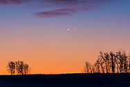 Venus and Jupiter in a very close conjunction (20 arc minutes apart) at dawn on November 13, 2017, from home in Alberta. <br /> <br /> This is a single 1/5-second exposure at f/2.8 with the 200mm lens and Canon 60Da at ISO 400.