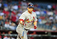 Apr. 13 2011; Phoenix, AZ, USA; St. Louis Cardinals outfielder Matt Holliday (7) reacts as he is walked at bat during the first inning against the Arizona Diamondbacks at Chase Field. Mandatory Credit: Jennifer Stewart-US PRESSWIRE..