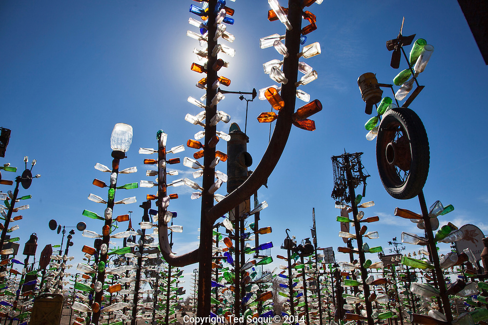 Bottle Tree Farm.<br /> U.S. Route 66, also known as the Mother Road, in the Mojave desert of California. The two major connector cites in the Mojave desert are Barstow and Amboy. U.S. Route 66 was the first major east west highway for the US, starting in Chicago, Il and ending in Santa Monica, CA. The 2,448 mile long highway was built in November 11,1926. Most of Route 66 has been decommissioned, but there are several parts that are now historically preserved.