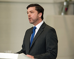 © Licensed to London News Pictures.18/04/2016. Bristol, UK.  National Composites Centre, Emersons Green. Picture of: Secretary of State for Work and Pensions STEPHEN CRABB; Treasury Report event re the EU referendum and the cost to UK families of the UK leaving the EU, with Chancellor George Osborne, Secretary of State for Energy and Climate Change Amber Rudd, Secretary of State for Environment, Food and Rural Affairs Liz Truss, and Secretary of State for Work and Pensions Stephen Crabb. Photo credit : Simon Chapman/LNP