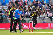 Jerome Taylor of Somerset bowling during the Vitality T20 Finals Day Semi Final 2018 match between Worcestershire Rapids and Lancashire Lightning at Edgbaston, Birmingham, United Kingdom on 15 September 2018.